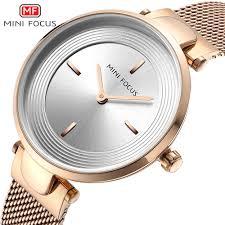<b>MINIFOCUS Rose Gold</b> Luxury Women Watches Ultra thin Simple ...