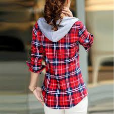 <b>2017 Autumn Women</b> Plaid Shirts Blouses Medium Long Casual ...