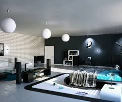 ultramodern masculine bedroom with modern round lighting fixture above white and blue nuance bedroom simple modern bedroom design