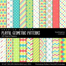 """Playful <b>Geometric Patterns</b>, Digital Paper, 20 Digital Papers (12""""x12 ..."""