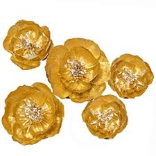 Ling's moment Gold <b>Crepe</b> Paper Flowers(8''- 6''), Set of 5