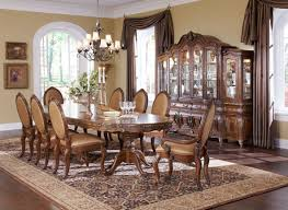 dining table parson chairs interior: elegant pedestal dining table by aico furniture with antique parson dining chairs and black chandelier plus
