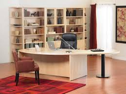 excellent office space design presented with soft cream modular desks home office made from wooden material and installed next to big bookshelves best modular furniture