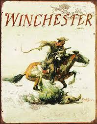 Winchester Logo Cowboy with <b>Gun</b> on Horse Distressed <b>Retro</b> ...
