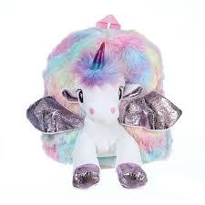 Baby <b>Girl</b> Unicorn <b>Fur Backpack</b> Cute Children Zipper Schoolbag ...