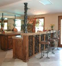 f appealing brown varnishes hand carved wooden bar kitchen table with brown marble stone countertop be equipped black wrought iron swivel bar stool which black mini bar home wrought