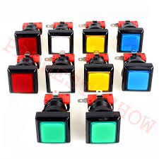 Hot Sale <b>10pcs</b>/<b>lot 32mm</b> Square Black bevel edge Arcade Button ...