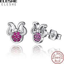 <b>ELESHE</b> 925 Sterling Silver Tiny Earrings With <b>Cubic Zirconia</b> Pink ...