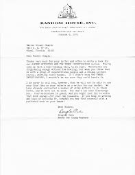 vintage letters three investigators he submitted the idea to random house and here is the response he received dated 6 1971