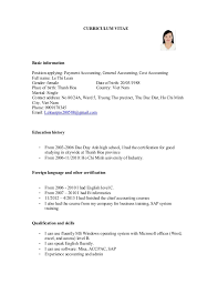 cv for payment accounting  general accounting  cost accountingcurriculum vitae basic information position applying  payment accounting  general accounting  cost accounting full