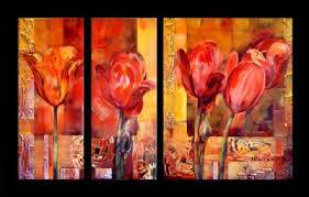 Resultado de imagen de tulipanes pintura triptico