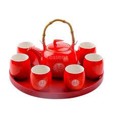 <b>Chinese</b> Wedding Tea Set: Red Teapot, 6 Cups & Tray   Teasenz