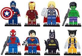 iron man spiderman superman batman hulk wolverine 8 mini figures set lego fit batman superman iron man