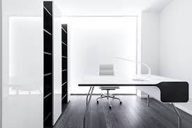 contemporary axioma apartment home office design with minimalist desk and white mesh back office chair by geometrix design s m l black and white office design