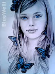 Blue Butterfly Girl by BlueWelli - Blue-Butterfly-Girl-by-BlueWelli
