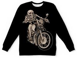 """Свитшот мужской с полной запечаткой """"<b>Skeleton</b> Biker"""" #1014336 ..."""