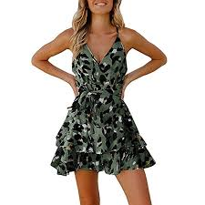 Mini Dresses for Women, 2019 <b>New Sexy</b> Halter V Neck <b>Leopard</b> ...