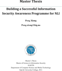 Master Thesis  Building a Successful Information Security     DocPlayer net no Master s Thesis Master of Science in Information Security