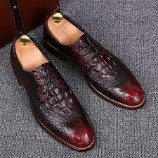 Men's Faux <b>Crocodile</b> Leather Wing tip Dress formal Lace-up Cuban ...