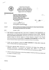 mid year performance review and evaluation for school heads who memo1000s2015 mid year performance review and evaluation for school heads who were not available