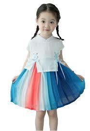 Buy Little Kooma Chiffon <b>Cheongsam Dress</b> White Top Blue Whtie ...