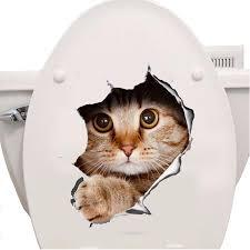 <b>Cats</b> 3D Wall <b>Sticker Toilet Stickers</b> Hole View Vivid Dogs <b>Bathroom</b> ...