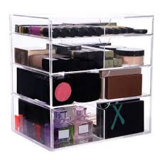 plastic makeup organizer put bathroom: sorbusar acrylic cosmetics makeup and jewelry storage case x large display sets interlocking scoop drawers to create your own specially designed makeup