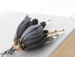 Black Tulip <b>Earrings</b> Floral Dangle Nature <b>Earring</b> Blackened | Etsy
