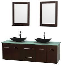 double bathroom vanity green glass