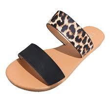 Women Flat Sandals Summer Cute <b>Vintage</b> 2-Strap Roman <b>Leopard</b> ...