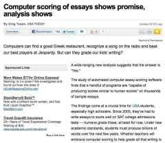can computers take on grading essays  and do we teachers want  computer scoring of essays grading papers