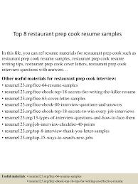 restaurant cook resume sample cipanewsletter top8restaurantprepcookresumesamples 150529082947 lva1 app6892 thumbnail 4 jpg cb u003d1432888243 from slideshare net