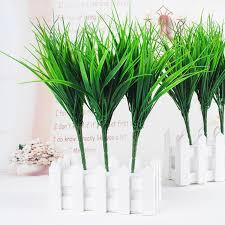 1Pcs 7 Branches <b>Green</b> Leaves <b>Artificial Grass</b> Fake Leaf Greenery ...