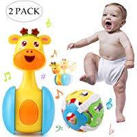 Cartoon Giraffe Tumbler Doll Roly-poly <b>Baby</b> Toys Cute Rattles Ring ...