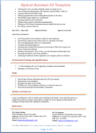 optical assistant cv template   tips and download – cv plazaoptical assistant cv example