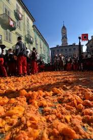Image result for Battaglia delle Arance (Battle of the Oranges)