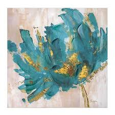 Product Details Turquoise and <b>Gold Flower</b> Canvas <b>Art</b> Print | Flower ...
