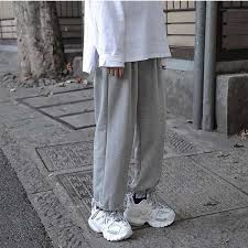 <b>HOUZHOU</b> Gray Sweatpants Women Korean Style Wide Pants ...