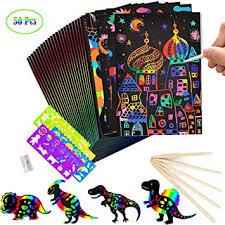 Fancartuk Scratch Art Paper for Kids, <b>50 Pcs</b> Rainbow Scratch Art ...