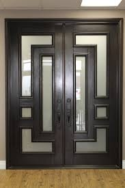 contemporary dark wood frosted glass image