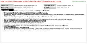 engineering technician resumechemical engineering technician resume