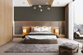 bedroom paneling ideas: this contemporary  outstanding modern bedroom design featuring scandinavian bed style with built in side table along with walnut wooden paneling backdrop with concealed lighting along with industrial bulb track lamp ide