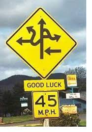 Yellow highway sign with 'good luck' and crazy arrows
