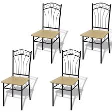 <b>Dining Chairs 4 pcs</b> Light Brown, LivEditor in 2020 | Metal dining ...