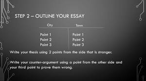 writing a persuasive essay step you need to the entire 3 step 2 outline your essay point 1 point 2 point 3 point 1 point 2 point 3 city town write your thesis using 2 points from the side that is stronger