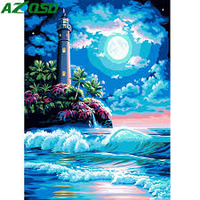 AZQSD Oil Painting <b>Lighthouse Landscape</b> Painting By Numbers ...