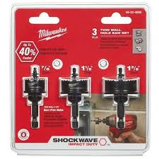Milwaukee 49-22-4800 3pc Shockwave Hole Saw Kit for sale online