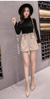 2019 autumn winter <b>women's leather shorts women</b> high waist ...