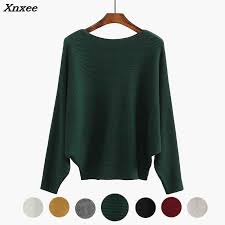 Winter Batwing Sweater <b>Female</b> Bat Jersey Oversized Green ...