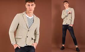 TATT 21 Men <b>Casual</b> Blazer <b>Notch</b> Lapel <b>Two Button</b> Cotton ...